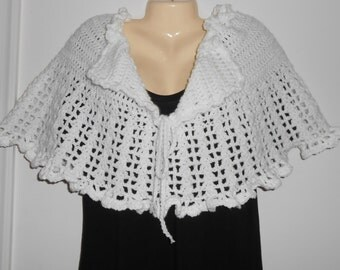 Crocheted white poncho/shawl/wrap//lacy stitch//formal wear//gift for her//gift for mother