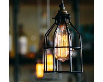 Pendant Lighting Industrial Pendant Lamp Modern Industrial Pendant Light Chandelier- Hardwired or Plug In Swag Light Lamp Guard Lighting