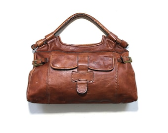 Vintage Leather Hobo Bag / Whiskey Leather Handbag / Mini Luggage
