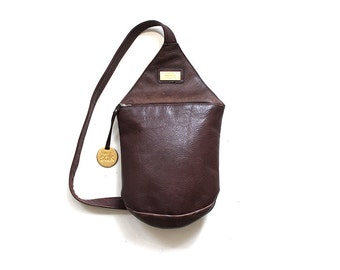 Vintage Leather Backpack / Brown Leather Backpack / Sling Backpack / Mini Backpack / Leather Knapsack