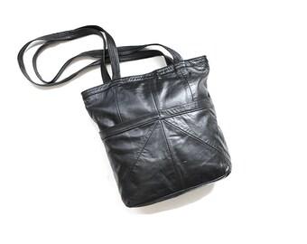 Vintage Leather Tote Bag / Black Leather Tote / Leather Shoulder Bag / Minimal Purse