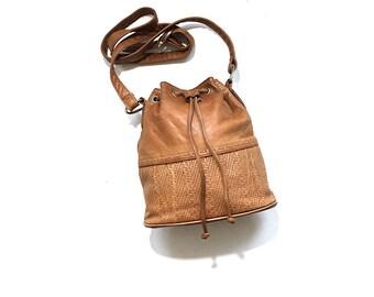 Vintage Bucket Bag / Tan Leather Bucket Bag / Drawstring Purse / Mini Purse