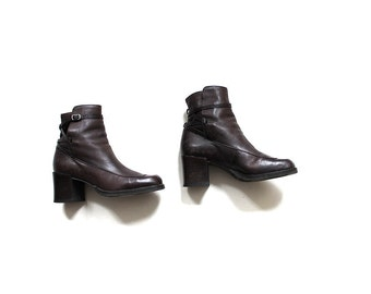 Vintage Ankle Boots 5.5 / Brown Leather Boots / Buckle Boots / Leather Booties