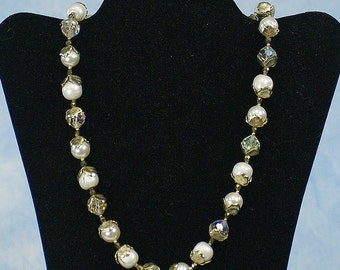 Vintage 50s 60s VENDOME Faux Pearl & Faceted Crystal Bead Necklace, Married Earrings, Bridal Wedding Jewelry