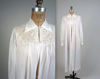 1940s lace dressing gown • vintage 40s lingerie • sheer robe