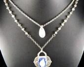 Fine Silver Light Blue Fused Glass Necklace Set