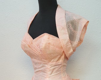 1950's Formal Ball Gown with Pink Bolero