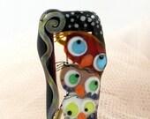 Artist Glass owl bead , sra Lampwork bead, artisan handblown owls focal , lampwork glass beads