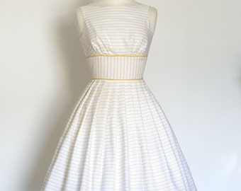 UK Size 8 - Yellow and White Striped Linen Prom Dress - Ready To Ship - Made by Dig For Victory