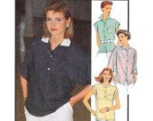80s Blouse Pattern Style 4556 Vintage Sewing Pattern Size 8 10 12 UNCUT Factory Folded