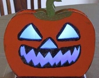 Free Shipping Halloween Wood Lights Figure Glitter Paint Pumpkin