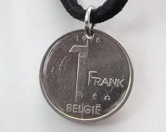 Belgium Coin Necklace, 1 Franc, Coin Pendant, Leather Cord, Men's Necklace, Women's Necklace, 1998