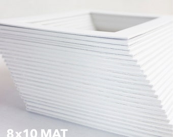 Classic White Mat - Standard 8x10 Mat for 5x7 Artwork - Bevel Cut - Acid Free