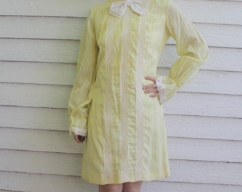 60s Yellow Lace Dress Long Sleeve Bow Mod Retro Vintage S