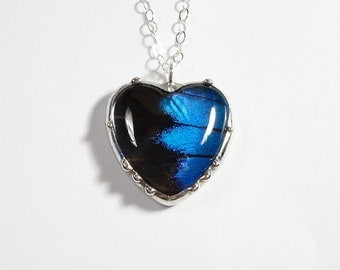 Heart Pendant, Real Butterfly Heart Necklace, Blue and Black Butterfly Wing Pendant