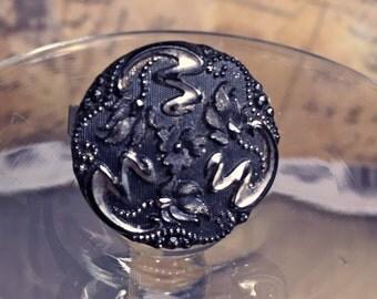 Black Vintage Statement Ring - Carved Vintage Button - Vintage Lucite Button -  Victorian Button Ring - Luminescent  Carving - R26