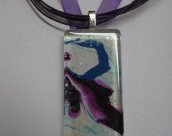 Swan Pendant OOAK Watercolor painting  Glass Tile  Purple Magenta Abstract