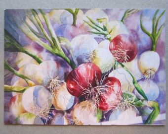 Red Onions ACEO watercolor print 741 WatercolorsNmore Vegetables