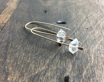Gold Herkimer Earrings, Raw Gemstone Jewelry, Line Earrings, Herkimer Diamonds, Simple Earrings, Minialist Jewelry
