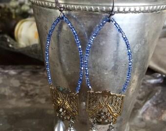 SOLD to Vanita - taj mahal earrings - vintage blue glass beads filigree panels glass pearl drops art deco dangle drop bohemian