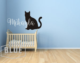Sillhouette Cat with Child's Name Vinyl Wall Decal - Cat Vinyl Wall Decal - Name Personalized Cat Wall Decal - Cat Silhouette Decal