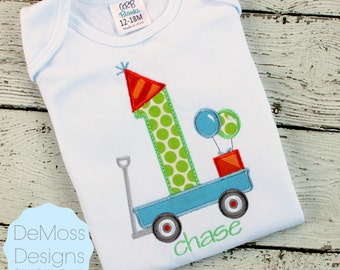 Birthday Wagon Personalized Number Letter Shirt, Monogrammed Personalized, Short or Long Sleeve Shirt, Totally Custom, Name Embroidered