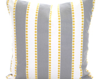 Gray Stripe Pillow Covers, Decorative Throw Pillows Cushions Storm Gray White Stripe Yellow Dots Lulu, Couch Bed Sofa, One or More ALL SIZES