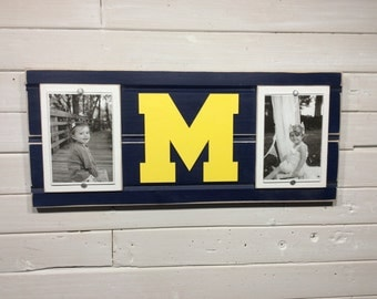 "University of Michigan UofM M picture frame holds 2-4""x6"" photos"