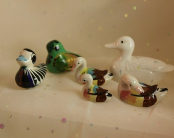 5 Ducks Miniatures 1 Bird Porcelain Terrarium Collection Glazed Craft figures Tiny feathered Woodland Friends