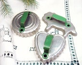 Vintage Cookie Cutters with Green Handles - Set of 3 - Metal Aluminum - Lion - Round - Heart - Fluted Edge - Christmas Kitchen