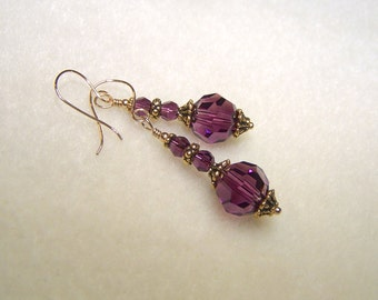 Dark Purple Earrings for Women Gold Dangle February Birthstone Jewelry Canada Amethyst Crystal Earings Wire Wrapped Gift Ideas for Her