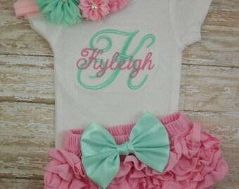 Newborn, Baby girl coming home outfit, Baby girl take home outfit, baby girl clothes, baby girl outfit, monogram, baby girl bodysuit, infant