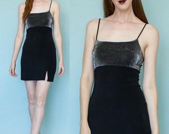 1990s Black Silver Sparkle LBD Slip Dress Size M