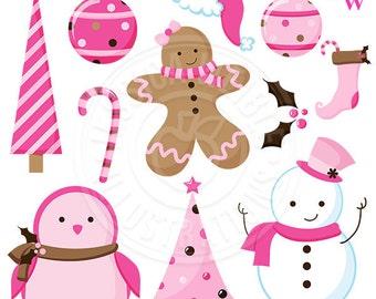 A Pink Christmas Cute Christmas Digital Clipart, Pink Christmas Clip Art, Pink Holiday Graphics, Instant Download, Scrapbooking, Gingerbread