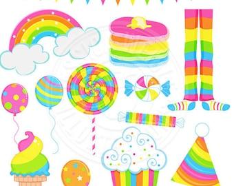 Girly Rainbow Party Cute Digital Clipart, Rainbow Clip art, Rainbow Graphics, Pajamas, Rainbow Cupcake, balloons, lollipop, candy, ice cream