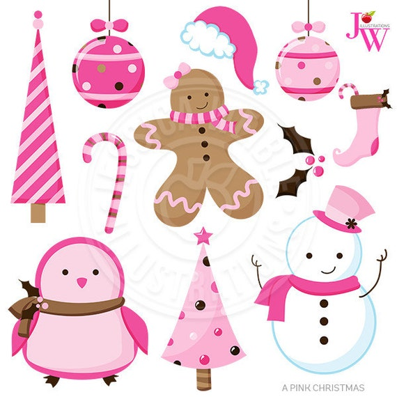 Pink Christmas Cute Christmas Digital Clipart, Pink Christmas Clip Art ...