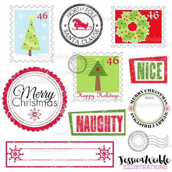 Stamps from Santa Cute Digital Clipart - Commercial Use OK- Postage Stamp Clipart, Christmas Graphics, Christms Clipart, North Pole Stamp