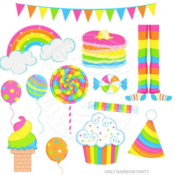girly rainbow party cute digital clipart rainbow clip art rainbow rh catchmyparty com digital clipart elements baby scrapbooking digital clipart for sale