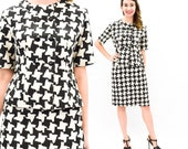 60s Mod Houndstooth Suit | Black White Pencil Skirt & Jacket | Jackie O Suit