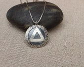 AA Unity Symbol Pendant Sterling silver, AA necklace, Unity service recovery necklace, 12 step