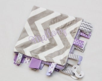 Baby Ribbon Tag Blanket - Minky Binky Blankie - Grey and White Chevron with Lavender