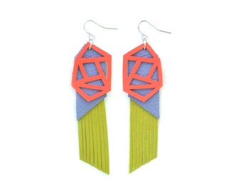 Geometric Earrings, Green Fringe Earrings, Lavender Leather Earrings, Coral Triangle Earrings, Long Statement Earrings, Geometric Jewelry