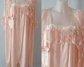 Vintage Pink Peignoir Set, Pink Peignoir, Leona, 1970s Pink Peignoir Set, Vintage Peignoir, Vintage Lingerie