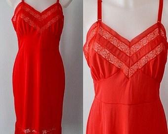 Vintage Red Full Slip, Vintage Full Slip, Dorsay, 1960s Slip, Red Full Slip, Crystal Pleats, Vintage Slip, Vintage Lingerie
