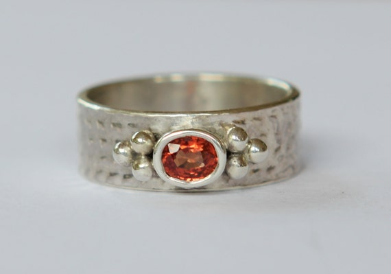Hand Fabricated .40 ct Natural Reddish Orange Spessartite Garnet Sterling  Silver Ring SZ 6.5