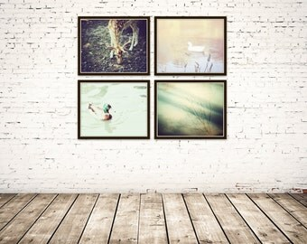 nature wall art, set of 4 prints, rustic art, gallery wall prints, nature photography, rustic wall decor, teal and brown art, cabin decor ,