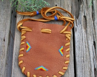 Beaded medicine bag ,  Drawstring medicine bag , Beaded leather pouch , Beaded leather bag