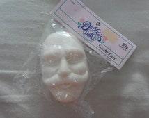 Vintage Santa Face Head- Santa Christmas Doll Craft Parts Plastic 3 x 2 1/4 Inches- Debbie's Dolls- Sealed in Original Package NOS