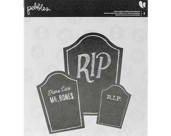 Pebbles BOO! Collection Blank Chalkboard Embellishments HEADSTONES - 3 Sizes