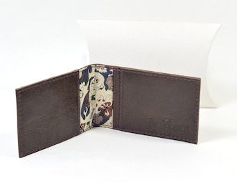 Handmade Brown Leather Bi Fold Card Wallet Liberty Of London Lining.
